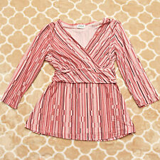 Steena Womens Blouse Top Sz S 3/4 Sleeves Pink  Empire Waist Stretch Tie Back