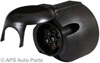 7 PIN 12N LARGE ROUND BLACK PLASTIC PLUG SOCKET TRAILER CAR CARAVAN NEW