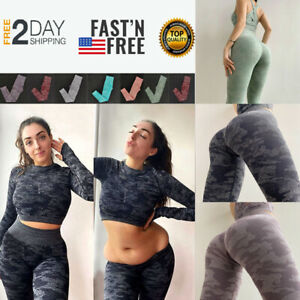 Women Push Up Leggings Yoga Pants Butt Lift Anti Cellulite Gym Workout Shaper US