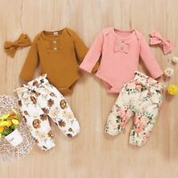Toddler Baby Girls Long Sleeve Ruffles Knit Romper+Floral Pants Headband Outfits