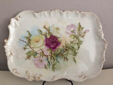 ANTIQUE T & V LIMOGES FRANCE HAND PAINTED & INITIALED PORCELAIN TRAY W/ROSES