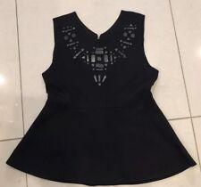 Ladies Womens Clothing Black Jewelled Peplum Top Zara Medium Size 10