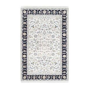 "5'2""x8'2"" Nain 250 KPSI All Over Design Wool and Silk Hand Knotted Rug R62758"