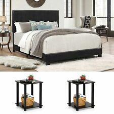 Queen Size Bedroom Set Furniture Platform Bed 3 Piece Modern Black 2 Nightstands