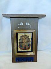"Egyptian Key Holder Wood Papyrus Painting King Tut Design 8"" X 4.5"""