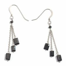Elegant Thai BLACK SPINEL Dangle EARRINGS in Plat / Sterling Silver 3.82 Cts.