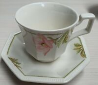 Johnson Bros Spring Morning Octagonal Cup & Saucer c1984 Made In England