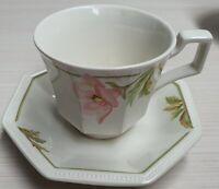 Johnson Bros Spring Morning Octagonal Cup & Saucer c1984 Made In England AF Chip