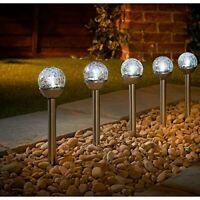 5pk Solar Powered  crackle Ball Post Light Garden Outdoor Decoration