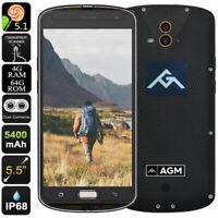 "5.5"" 4G LTE Smartphone Unlocked Rugged Android Dual SIM Waterproof AMOLED AGM X1"