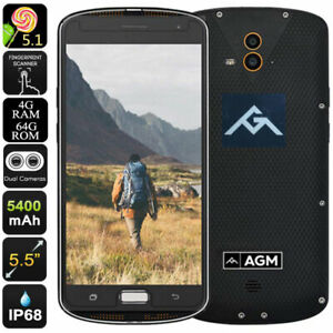 """5.5"""" AMOLED 4G LTE Smartphone Android Phone Waterproof Octa Core NFC Mobile AGM"""