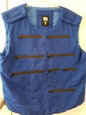 Rebel Minds Mens COMBAT Bullet Proof Looking Vest Jacket ROYAL BLUE Size 2XL XXL