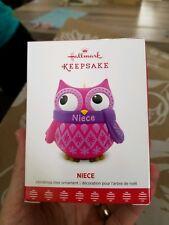 Cute Niece Owl Hallmark Keepsake Ornament 2017 Pink with Scarf New In Box