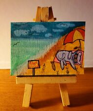 Aceo original paintingbeach bum cat