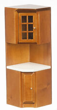 Dollhouse Miniature - T6832 - CORNER CABINET - WALNUT with WHITE Counter