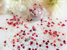 Nail Art Chunky *CupiD* Iridescent Silver Red Hexagon Hearts Glitter Spangle Pot