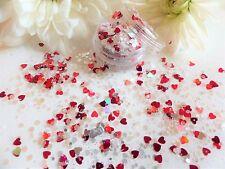 Arte en uñas Grueso * Cupido * Iridiscente Plata Rojo Hexagonal Corazones Brillo Spangle Pot
