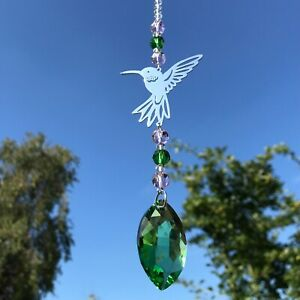 New Hanging Hummingbird Sun Catcher ~ Mobile ~ Green and Pink Glass Beads ~ Home