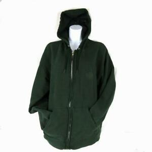 Hanes Premium Hooded Zippered Sweatshirt Size Adult Large Cotton Dark Green