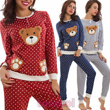 Pyjama Femme Lingerie Pantalon Jersey Ours Pois Nœud Ruban Lingerie Neuf 6198