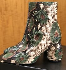 NWB DRIES VAN NOTEN GREEN  SCULPTED HEEL STAMPED LEATHER BOOT SIZE 36
