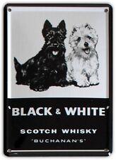 BLACK & WHITE SCOTCH WHISKY Small Metal Tin Pub Sign