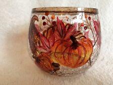 Autumn Candle Holder - Pumpkins Cornucopia Fall Leaves Acorns Crackled Glass