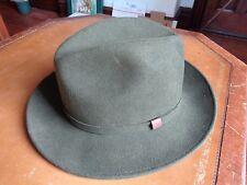 "Schuman Sullivan Fedora Hat ""Connecticut Crusher"" Sz L 100% Wool U.S.A. Green"