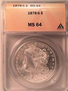 1878-S Morgan Dollar === ANACS MS-64 === Nice White Coin     !
