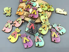 20pcs Cute Cats Wooden Buttons Fit Sewing Scrapbooking Decoration Crafts 30mm