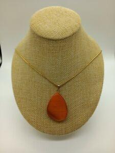 Marks & Spencer Gold Tone Necklace with Orange Teardrop Shaped Pendant