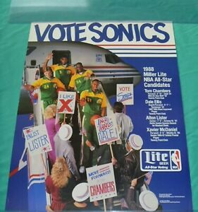 Seattle Sonics Poster Vintage 1988 - Xavier McDaniel - Ellis - Chambers - Lister