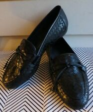 Italy Made Sesto Meucci 5 M Woven Round Toe Loafers Black Leather Women's Shoes