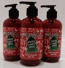 3 BATH & BODY WORKS WINTER CANDY APPLE GENTLE EXFOLIATING HAND SOAP NEW!