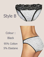 [3 FOR 2] M&S New Ladies Floral Lace Cotton Low Rise Brazilian Knickers