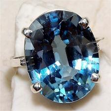 Charm Women Men 925 Silver Blue Gemstone Rings Engagement Bridal Jewelry Size 9