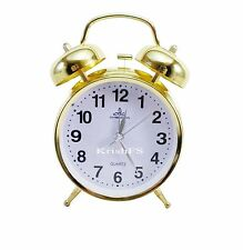 Vintage Golden 3 Inch Metal Body Twin Bell Alarm Table Clock & Back Light