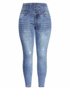 City Chic Ladies Harley Corset Vixen Jeans size 18S Colour Denim