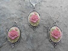 PINK ROSE CAMEO NECKLACE AND EARRINGS SET (TAN) 925 PLATE-- QUALITY