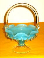 VINTAGE MURANO MILKY BLUE/CLEAR GLASS VASE/BASKET    (0.7/322A)