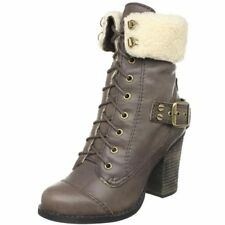 Chinese Laundry Size 9.5 $187 Tobacco Bosco Lace Boot Fur Collar Buckle Heel NIB