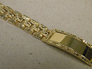 Men's Yellow Gold Plated Presidential Link Smooth ID Bracelet 9in Long 13mm Wide