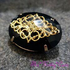 Filigree Cutwork Jali Lace Pin Brooch Vintage Baroque Deco Regency Black + Gold