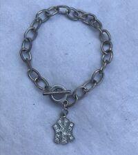 Lot 4 X New York Yankees Charm SilverTone Team Bangle Baseball Bracelet Chain NY