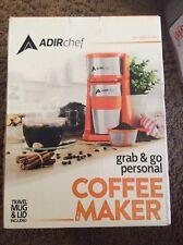 AdirChef Grab N' Go Personal Coffee Maker with 15 oz. Travel Mug Orange Makers