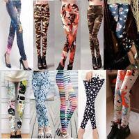 Hot Women Skinny Print Trousers Skinny Leggings High Waist Jeggings Pencil Pants