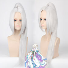 Hakuouki Toshizo Hijikata Ponytail Clip silver white Cosplay Anime party Wig