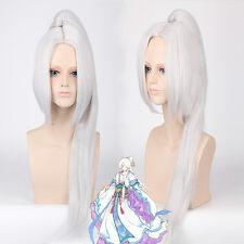 Hakuouki Toshizo Hijikata Ponytail Clip silver white Cosplay Anime party Wig