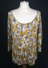 White Stuff Nectar Yellow Scoop Floral Botanical 100% Linen Summer Top 10/12