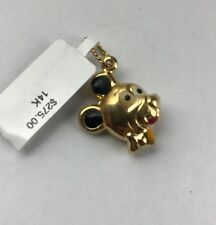 New 14 K Solid gold  Bear Head Enamel Ears Charm Pendant